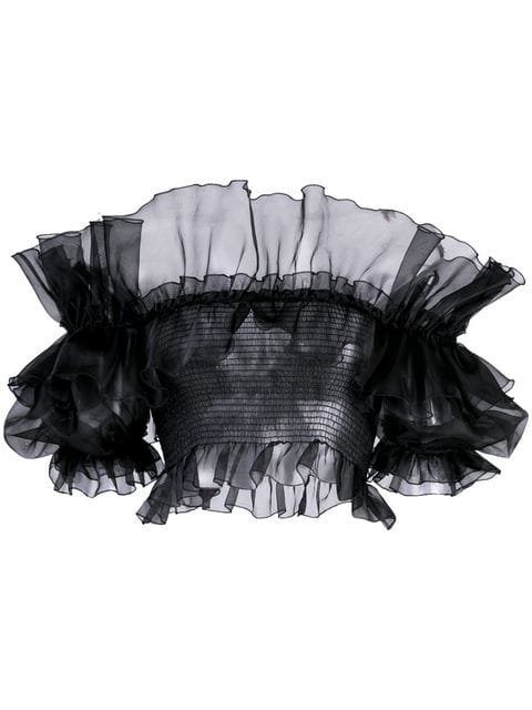 Giambattista Valli Cropped Ruffled Blouse - Farfetch