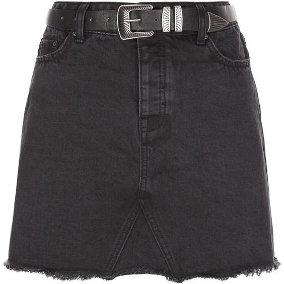 New Look Black Denim Fray Hem Belted Skirt