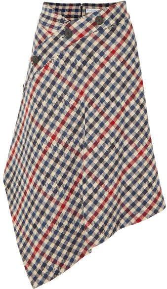 Asymmetric Checked Wool-blend Midi Skirt - Navy