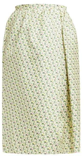 Omorus Floral Print Silk Skirt - Womens - Green Multi