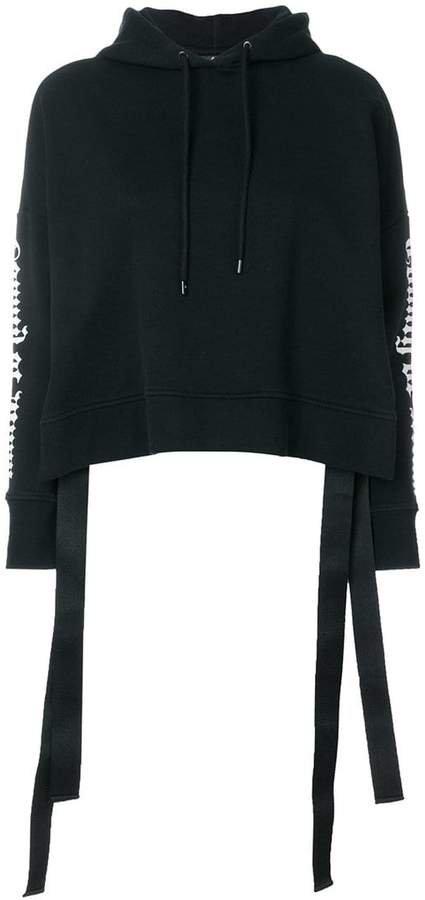 cropped printed hoodie