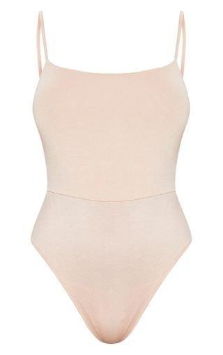 Nude Basic Square Neck Thong Bodysuit   PrettyLittleThing