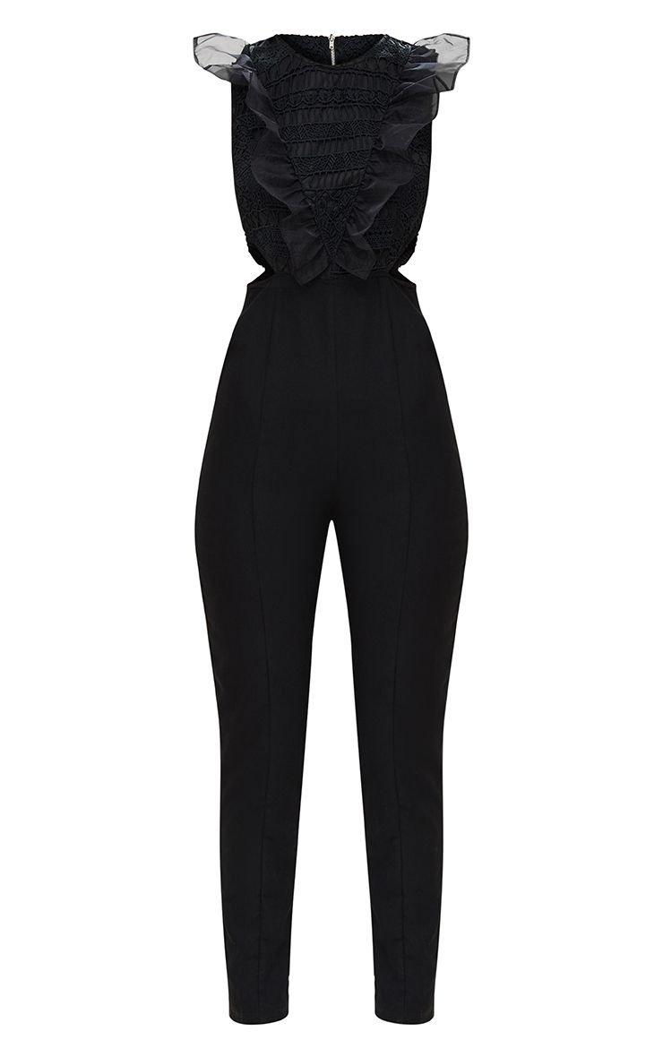 Black Mesh Shoulder Cut Out Detail Jumpsuit. Playsuits | PrettyLittleThing