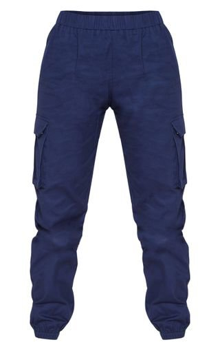 Petite Navy Pocket Detail Cargo Trousers   PrettyLittleThing