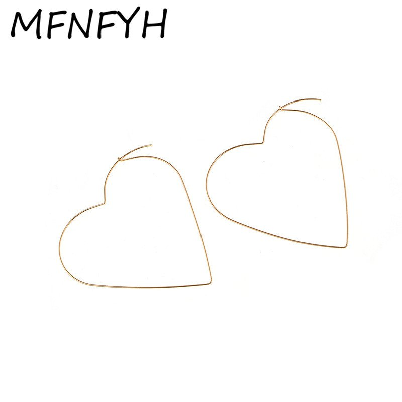 MFNFYH 2017 Korean Big Love Heart Hoop Earrings For Women Gold Silver Color Large Earings Fashion Party Jewelry Pendientes Mujer - Shop The Nation