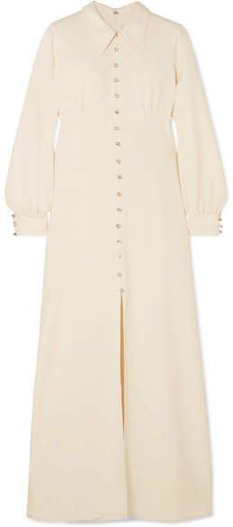 Crystal-embellished Crepe Maxi Dress - Ivory
