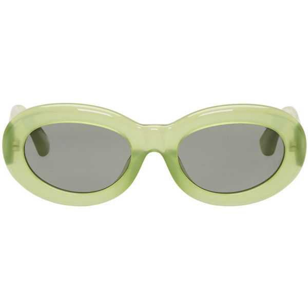 Dries Van Noten Green Linda Farrow Edition Oval Sunglasses