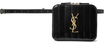 Vicky Quilted Patent-leather Belt Bag - Black