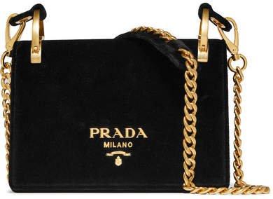 Pionnière Velvet Shoulder Bag - Black