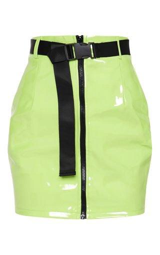 Neon Lime Vinyl Zip Front Belted Skirt | PrettyLittleThing