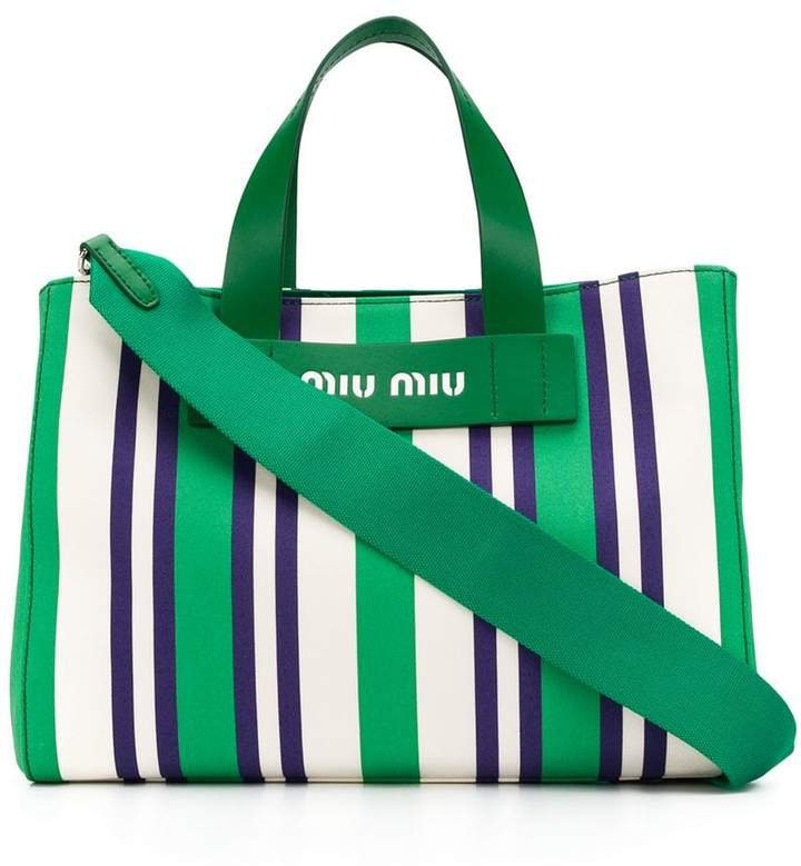 striped logo tote bag