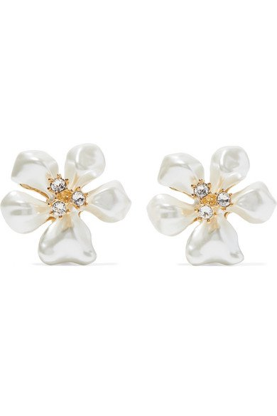 Kenneth Jay Lane | Gold-tone, faux pearl and crystal clip earrings | NET-A-PORTER.COM