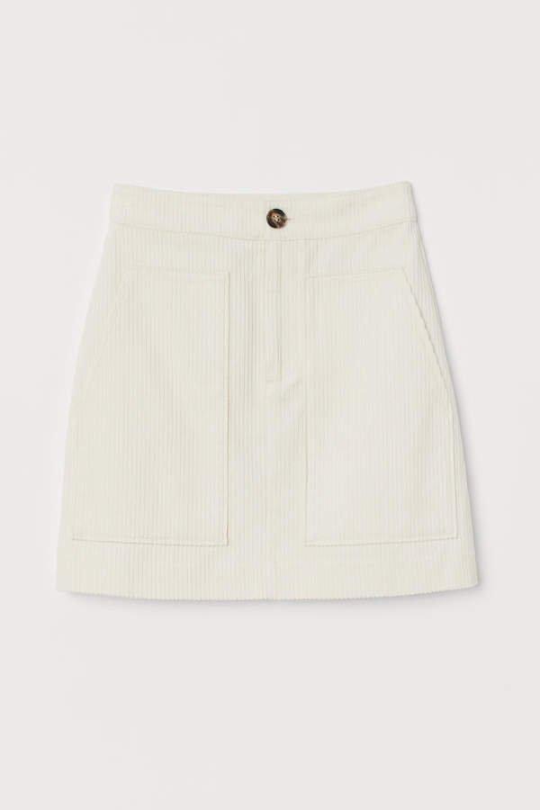 Corduroy Skirt - White