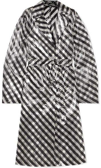 Striped Organza Trench Coat - Black