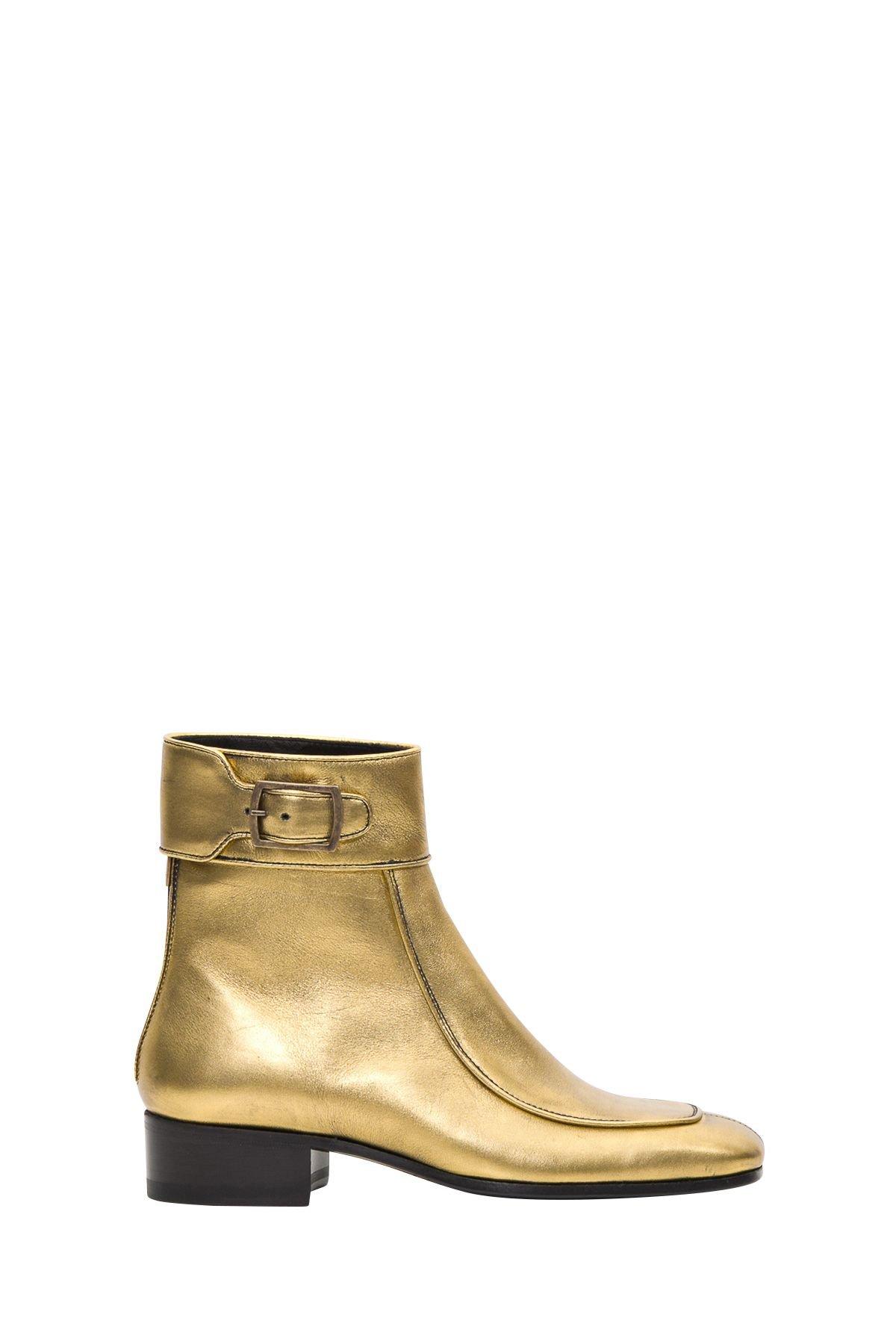Saint Laurent Miles Boots In Metallic Leather