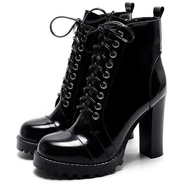 Black Leather Chunky Heel Boots
