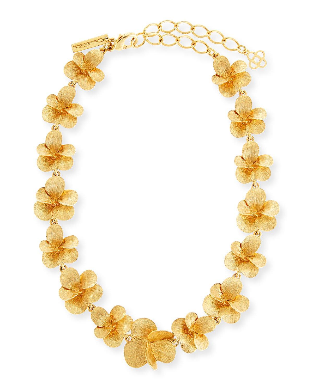 """Oscar de la Renta 17"""" Brushed Flower Necklace"""