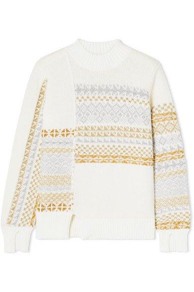 3.1 Phillip Lim | Asymmetric patchwork metallic Fair Isle wool-blend sweater | NET-A-PORTER.COM