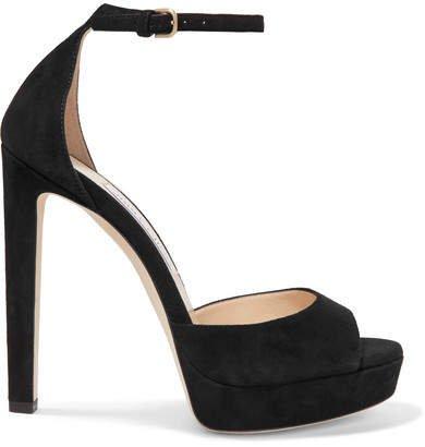 Pattie 130 Suede Platform Sandals - Black