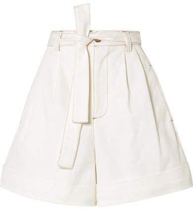 Belted Cotton-twill Shorts - White
