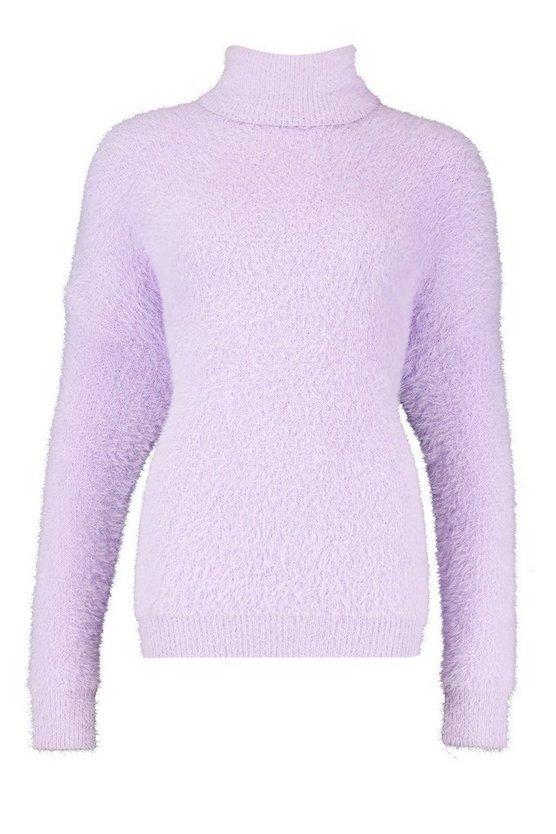 Oversized Fluffy Feather Knit Jumper Purple  Boohoo