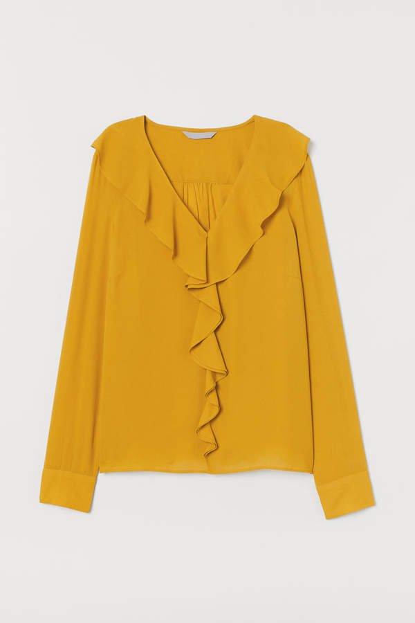 Ruffled V-neck Blouse - Yellow