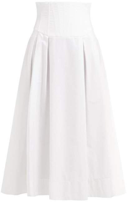 Corrales Corset Waist Cotton Poplin Midi Skirt - Womens - White