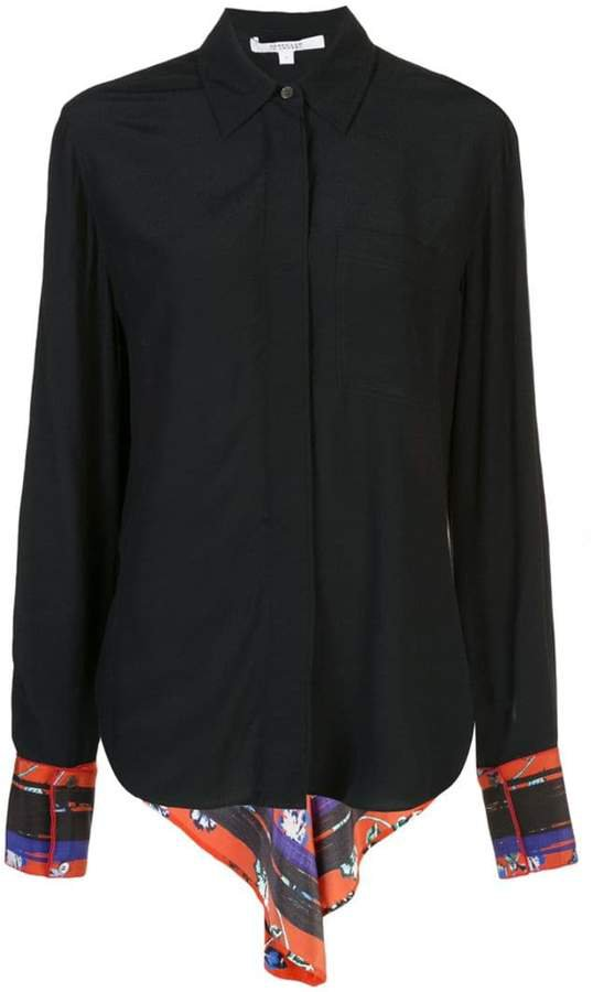 Long Sleeve Button-Down Shirt with Contrast Back