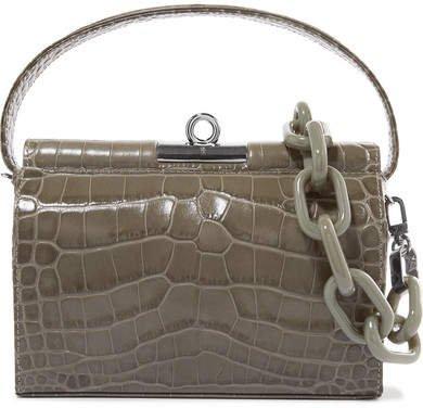Gu_de - Milky Mini Croc-effect Leather Shoulder Bag - Green