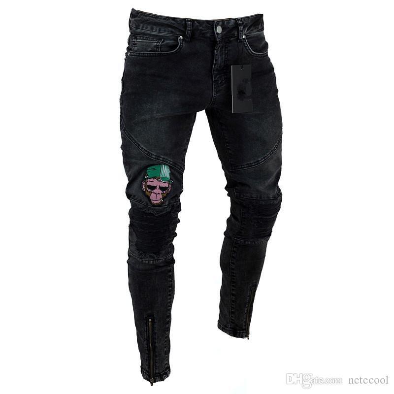 Men s Jeans Stretchy Ripped Skinny Biker Jeans Cartoon Pattern Destroyed Taped Slim Fit Black Denim Pants Hot Sell