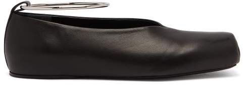 Squared Leather Ballet Flats - Womens - Black
