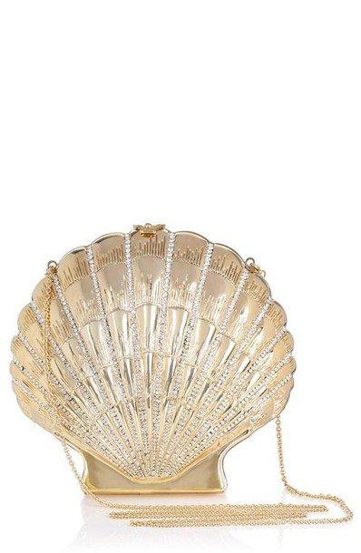 bag, shell purse, shell, shell bag, gold clutch, mermaid, chain bag - Wheretoget