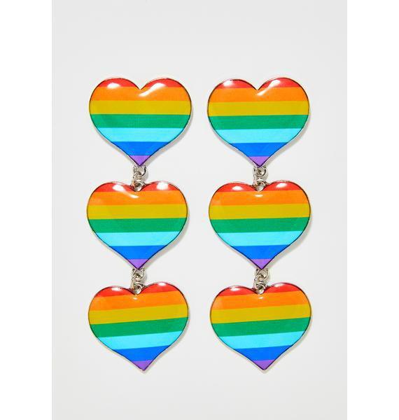 Rainbow Heart Earrings | Dolls Kill