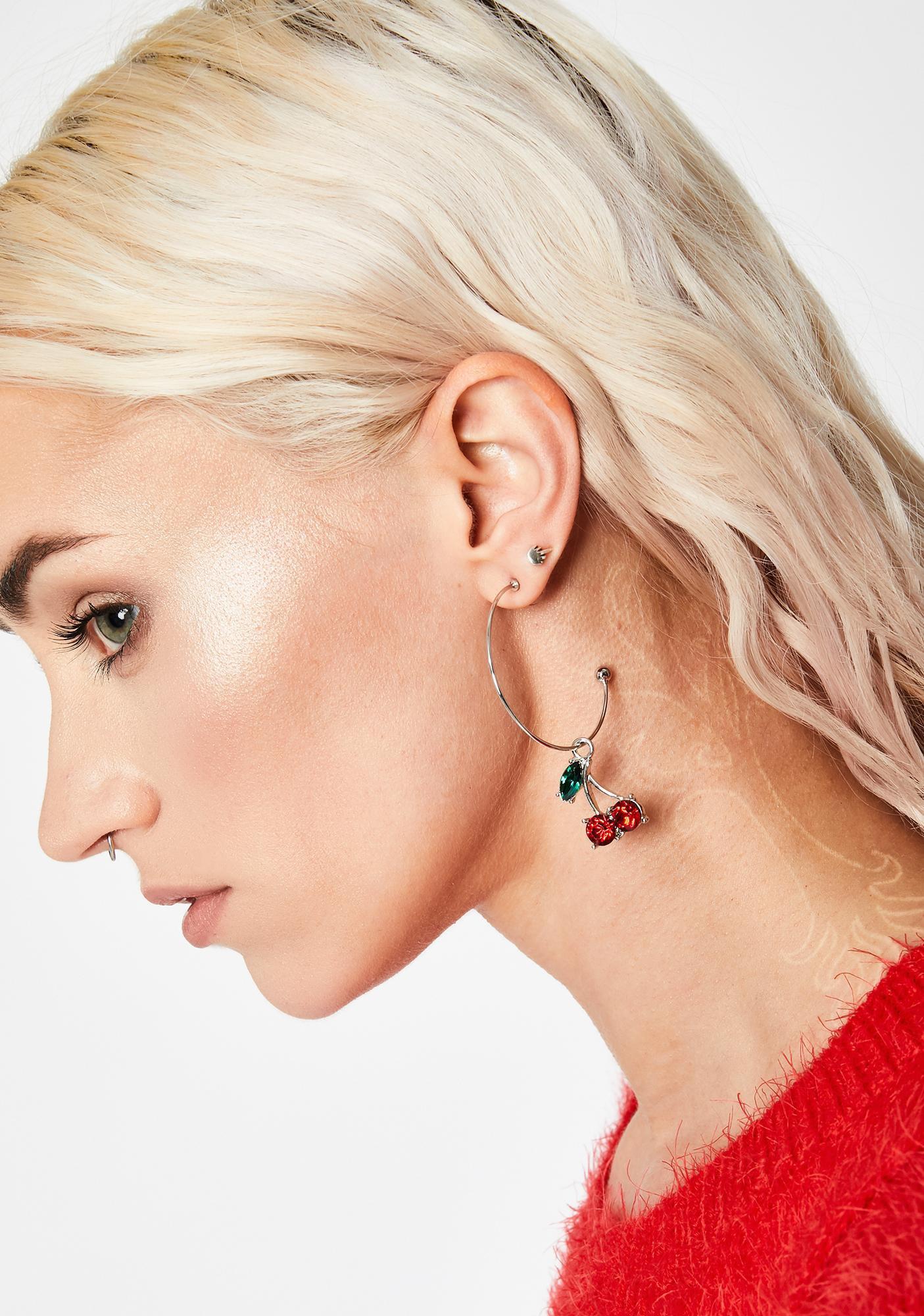 Silver Half Hoop Cherry Earrings   Dolls Kill