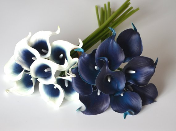 Navy Blue Picasso Calla Lilies Real Touch Flowers DIY Wedding   Etsy