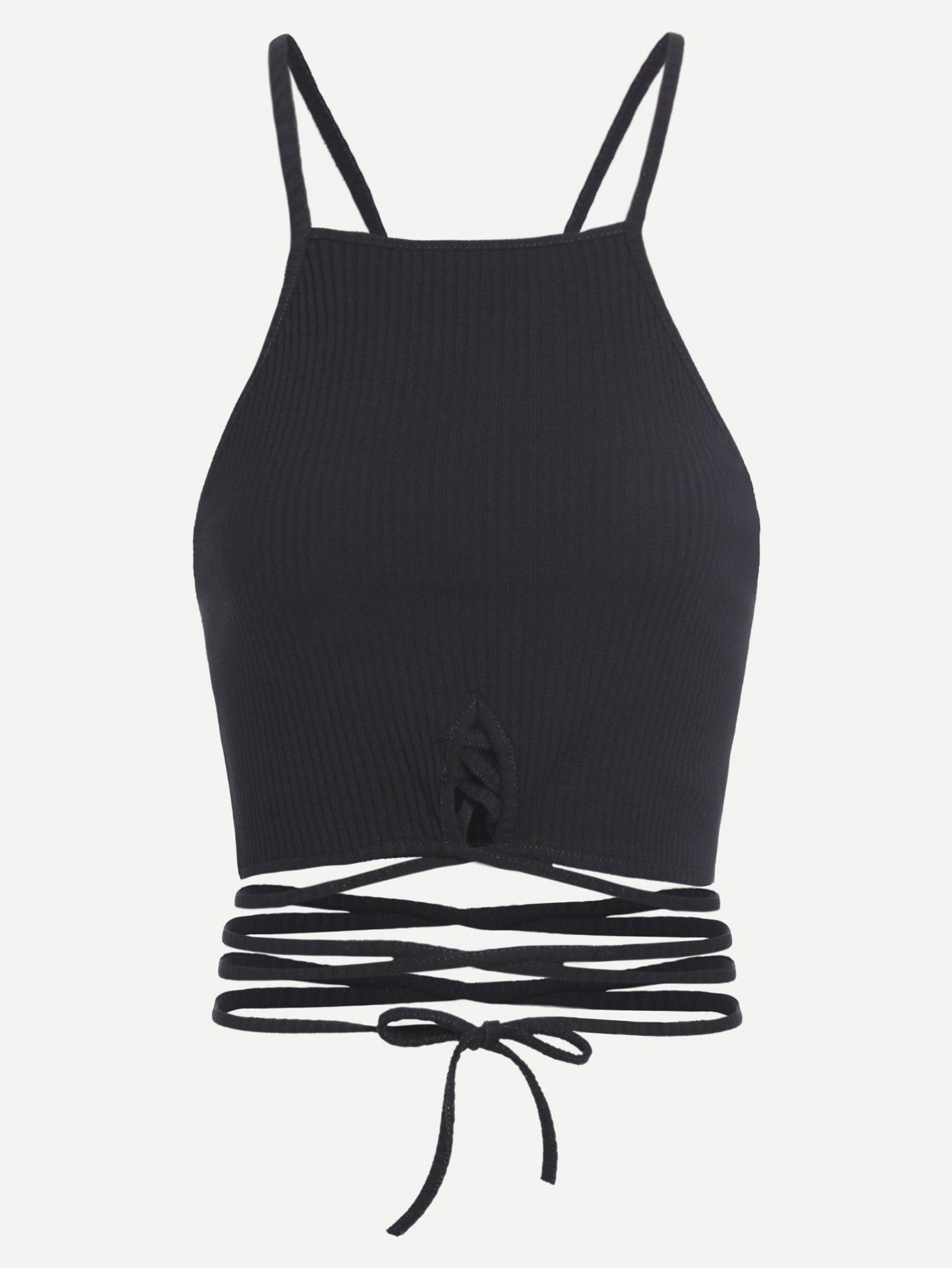 Black Lace Up Crop Cami Top