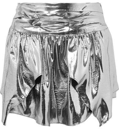Kira Metallic Silk-blend Mini Skirt - Silver