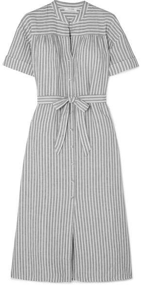 Belted Striped Linen And Cotton-blend Dress - Gray