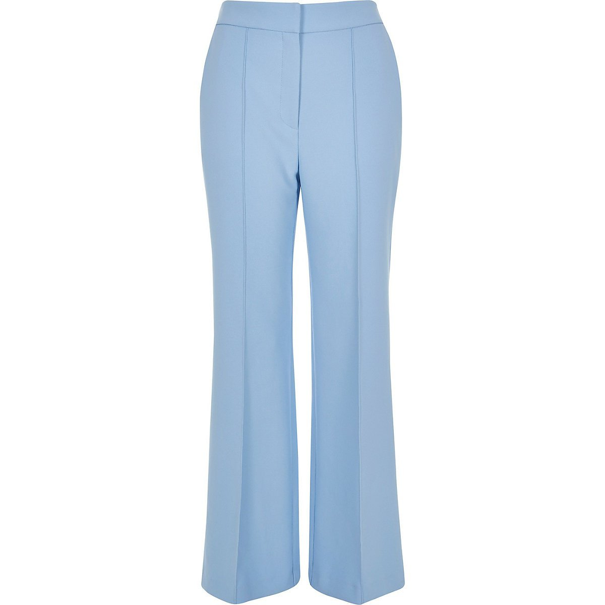 Light blue structured flared trousers - Flared - Trousers - women