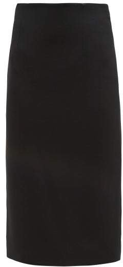 High Rise Crepe Pencil Skirt - Womens - Black