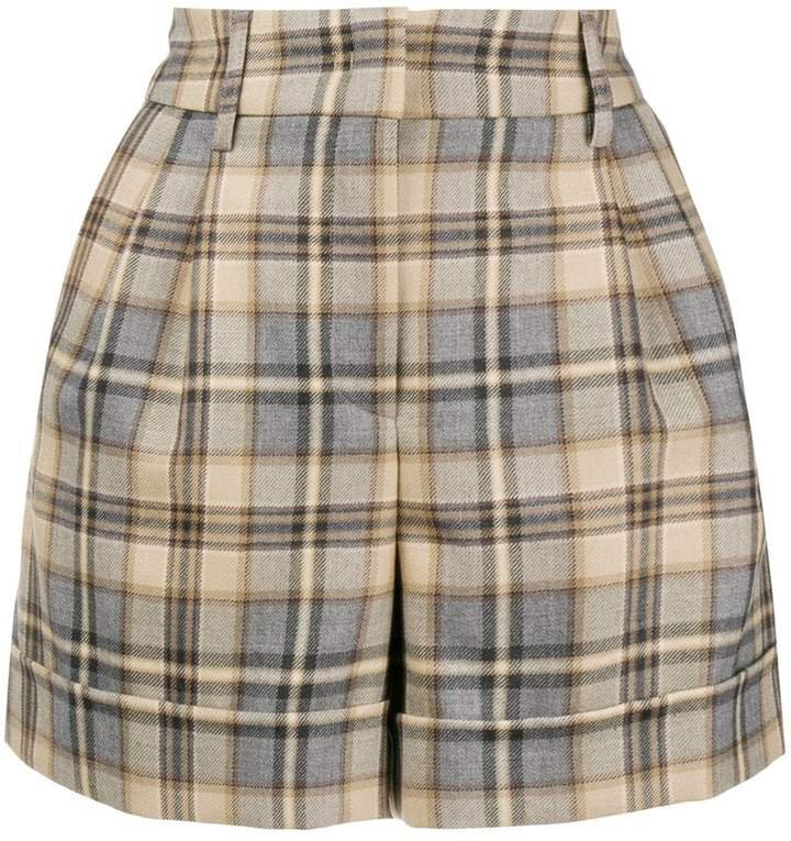 high waisted checked shorts