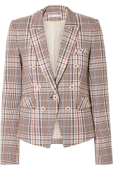 Veronica Beard | Diego Dickey double-breasted houndstooth cotton-blend blazer | NET-A-PORTER.COM