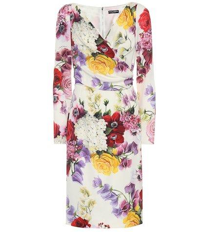 Floral stretch silk dress