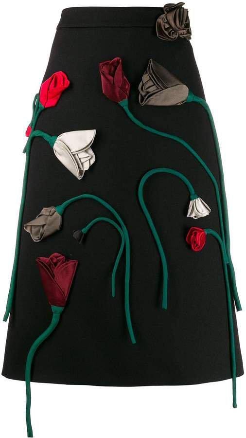 rose appliqué skirt