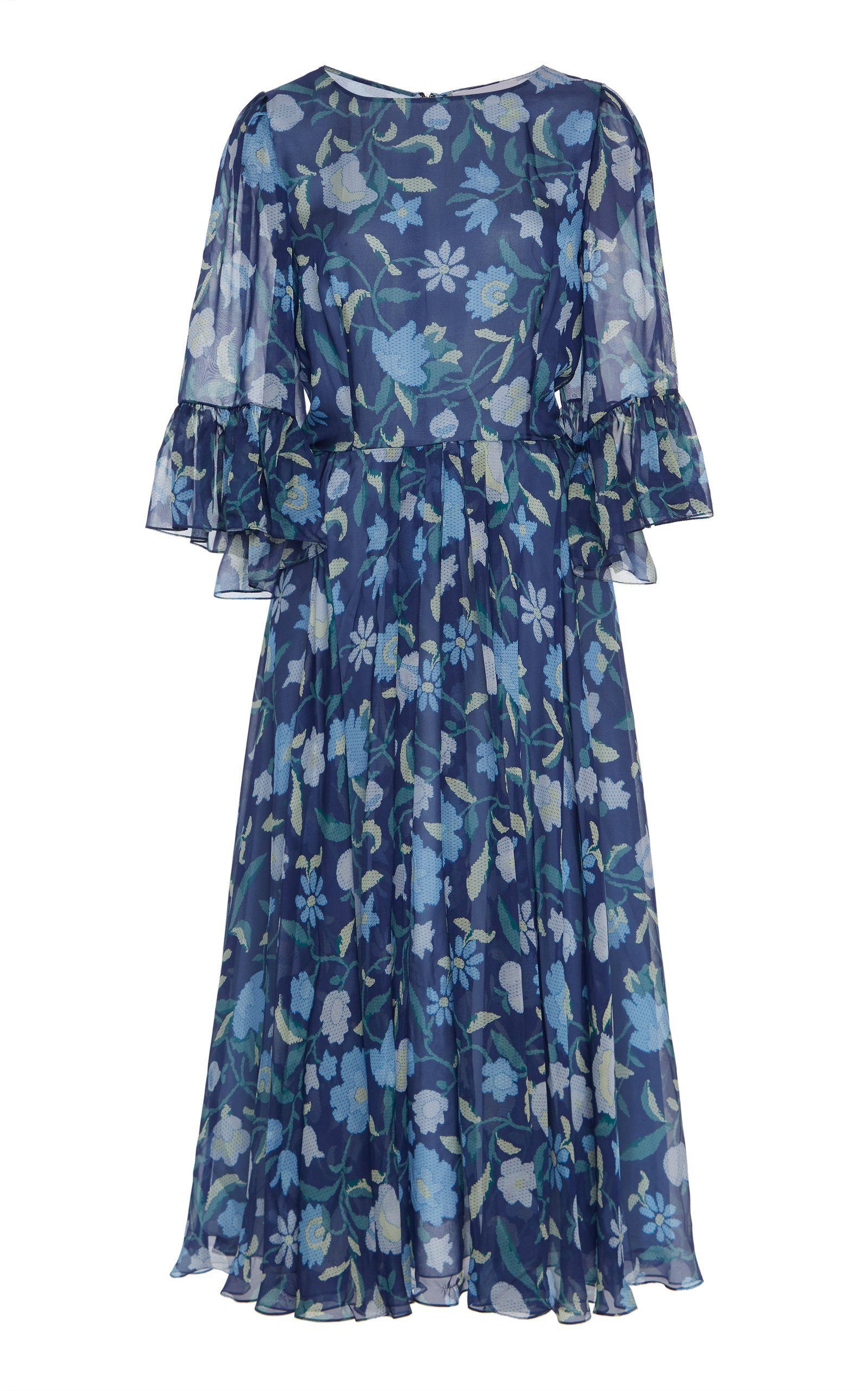Luisa Beccaria Floral Midi Dress