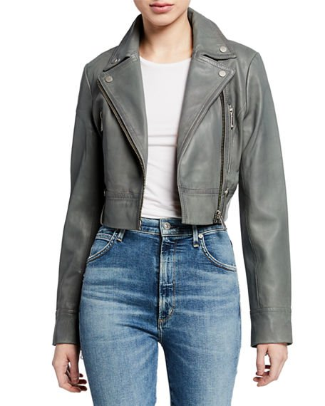 Bagatelle Cropped Washed Leather Biker Jacket
