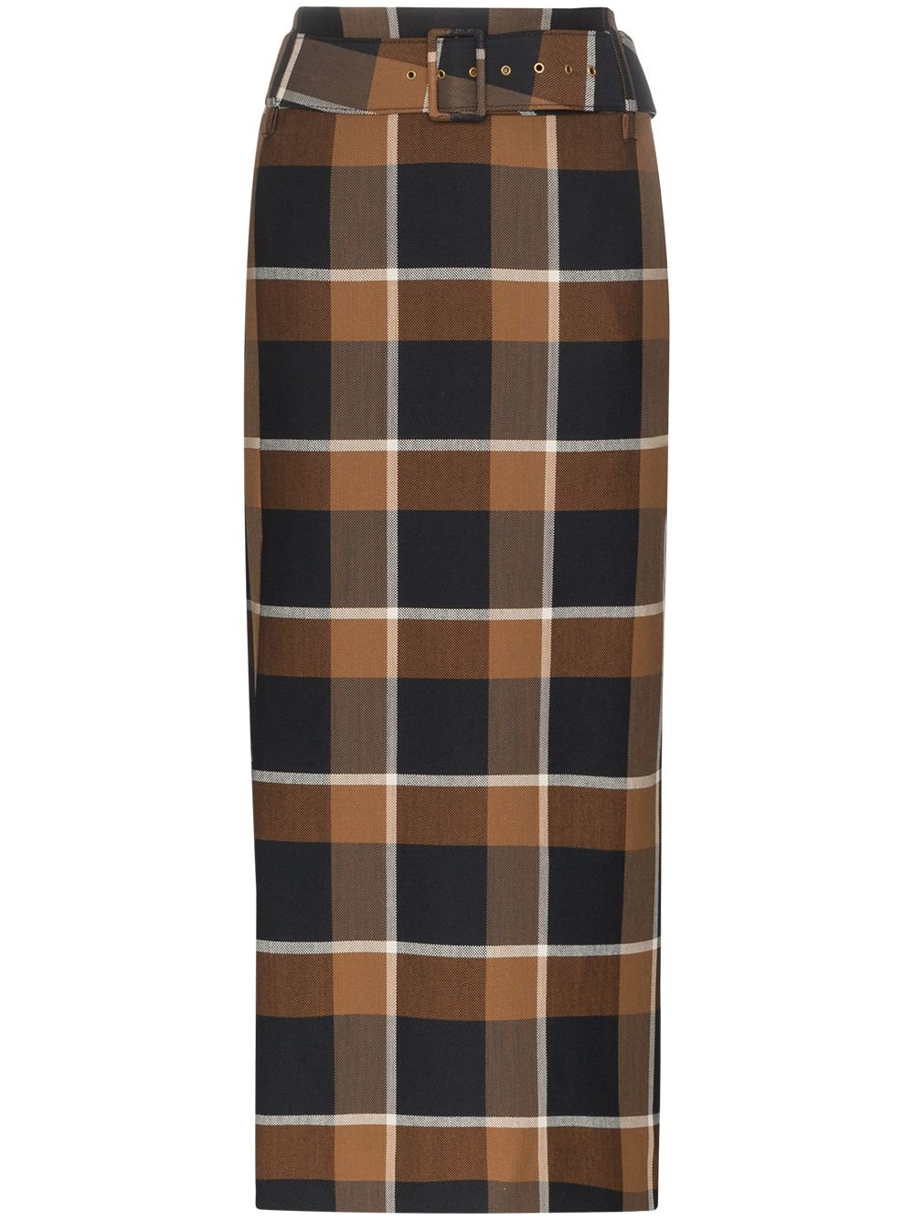 Staud | plaid belted midi skirt