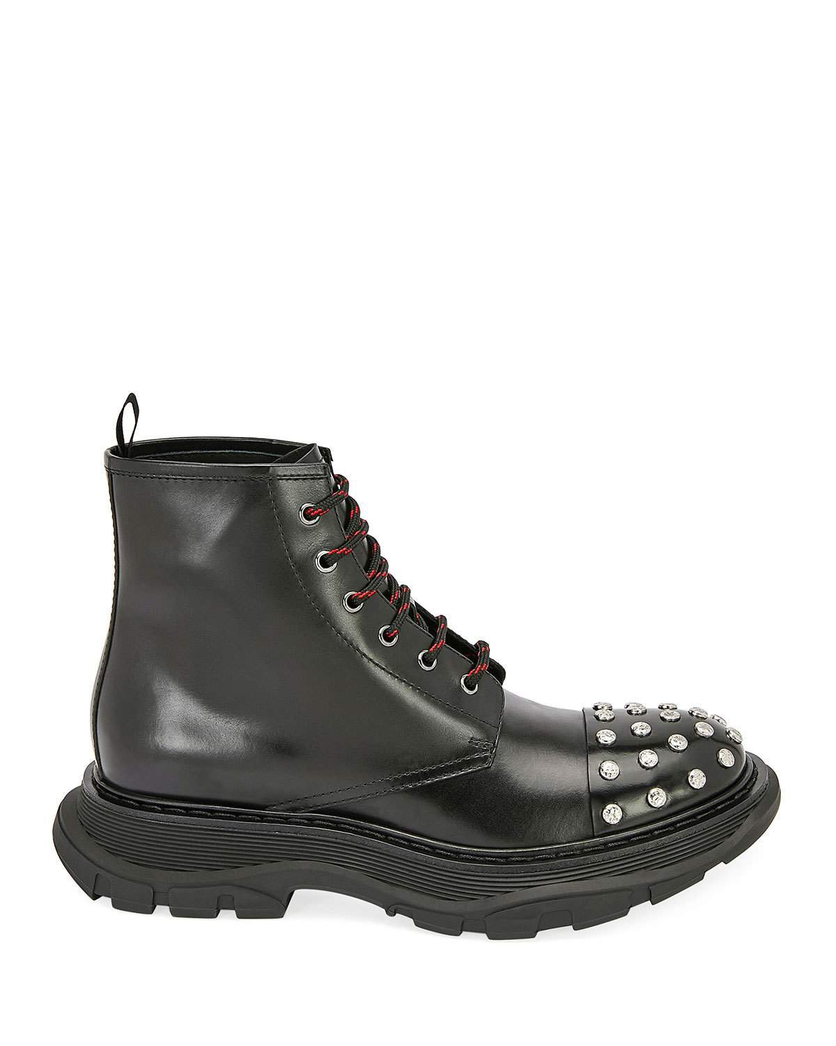 Alexander McQueen Studded Leather Combat Boots