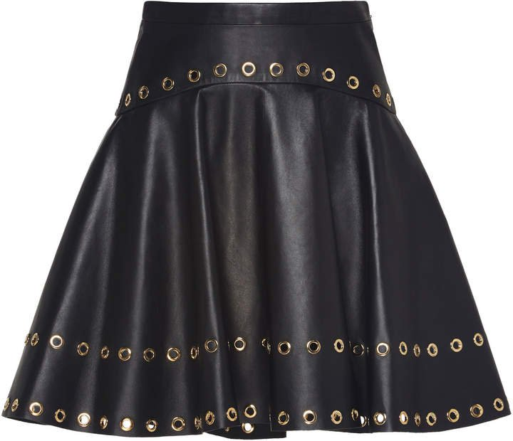 Zuhair Murad Ring-Embellished Leather Circle Skirt Size: 32