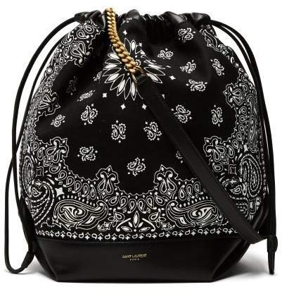 Teddy Bandana Print Drawstring Bucket Bag - Womens - Black White